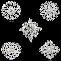 Wholesale Diamond Bouquet Pins - Wedding Rhinestone brooches fashion bridal diamond brooches sliver-plated crystal heart bouquet pins 2015 new free shipping