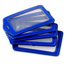 Wholesale Leather Id Card Badge Holder - Wholesale-New 5pcs Blue Faux Leather Business ID Credit Card Badge Holder Clear Pouch Case 11-371