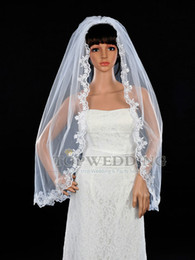 Wholesale Embroidery Fingertip Length - 2015 1 Layer IVORY white Fingertip Length Embroidery Lace Edge Bridal Wedding Mantilla Veil High Quality