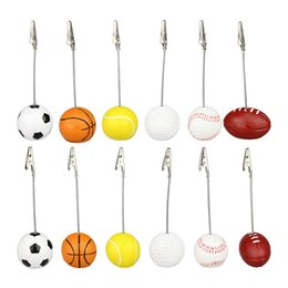 Wholesale multi games card - Fashion Sport Game Ball Stand Alligator Wire Memo Photo Clip Table Place Card Holder Event Party Favor ZA5524