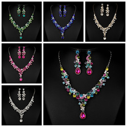 Wholesale Multi Crystal Necklace - Amazing Crystal Beaded Bridal Accessories Necklace And Earrings Sets Accessories Bridal Jewelry Colorful For Women Wedding Prom Party Decor
