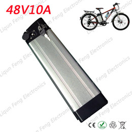 Wholesale Bike Electric Battery - 48V 10A Silver Fish Electric Bike Lithium ion Battery 500W 48V 10AH Ebike Li-ion Battery use 18650 2000MAH cells with 2A charger