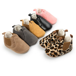 Wholesale Pink Leopard Shoes - Hot sale Newborn Baby snow Boots 2017 winter keep warm Leopard PU leather Baby Moccasins rubber bottom fashion baby shoes