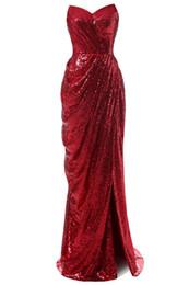 Canada 2018 Brillant Rouge Paillettes Femmes Robe De Soirée Sirène Longue Bretelle Latérale Fente Des Robes Formelles Robes De Fête De Plis Robe Personnalisée Festa Longo cheap red strapless sequin gown Offre