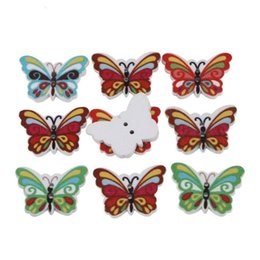 Wholesale Hand Butterfly Craft - 100 pcs Mixed butterfly Shape Wooden Buttons Fit Sewing and Scrapbooking Hand Making Crafts Accessories 25*17MM 111736
