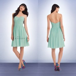 Wholesale Sweetheart Neckline Ruffles Mini - Chiffon Strapless Short Dresses with Sweetheart Neckline Mint Green Bridesmaid Dresses 2016 Bill Levkoff Dresses