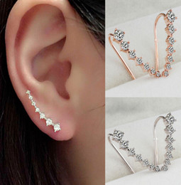 Wholesale Golden Anniversary - 2017 Fashion 7 diamonds Ear Hook Stud Earrings Jewelry Trendy Wholesale Women Wedding Party Gift Free Shipping