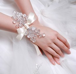 Wholesale Bow Bracelets Chain - Handmade Crystal Jewelry With Bow Chain Wedding Bridal Bracelets Jewelry Accessories 2016 Best Selling Free Shipping In Stock