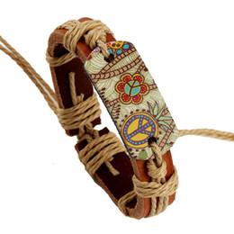 Wholesale Hand Made Leather Wrap Bracelets - Wholesale-Free Shipping Hand Made Women Men Leather Bracelets Pulseira Peace Mark Colorful Picture Wrap Bracelet