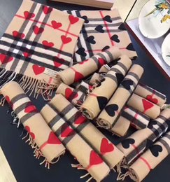 Wholesale Hearts For Scarfs - 2017 timeless classic plaid scarf, autumn winter cashmere scarf, peach heart design and high-end scarf for men and women