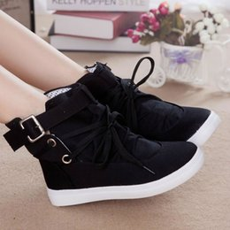Wholesale Korean Women Boots Shoes - 2017 new high canvas shoes to help a Korean student leisure shoes lace up boots breathable shoes