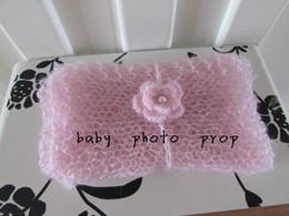 Wholesale Baby Photo Props Mohair - Wholesale-40cmX80cm Handmade Stretch Mohair Wrap With Headband Set Newborn Wrap With Hair Band Set Baby Photo Prop