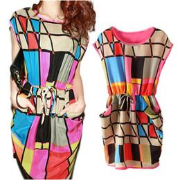Wholesale tunic mini dress batwing sleeves - Casual Women Party Mini Dress Tunic Scoop Neck Sundress Geometric Sleeveless free shipping
