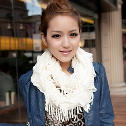 Wholesale Girls Knit Infinity Scarf - Women's Knitted Infinity Scarves Winter Warm Layered Fringe Tassel Neck Circle Shawl Snood Scarf Cowl Girl Solid Soft Wraps 10Pcs Lot