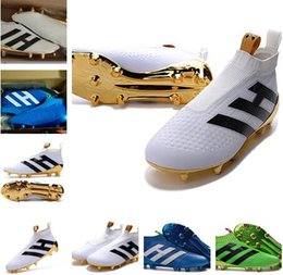 Wholesale Blackout Football - 2018 KIDS Ace 16+ Pure Control FG - Messi blackout Mens football boots Top soccer shoes best soccer cleats