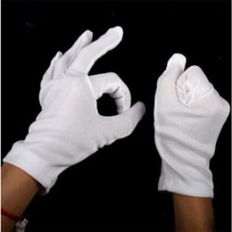 Wholesale Mans Police Costume - High quality Non-toxic 100% Cotton White Hip-hop Gloves fit for Catering Costume  Military Doorman Fire Police Dress Uniform order<$18no tra
