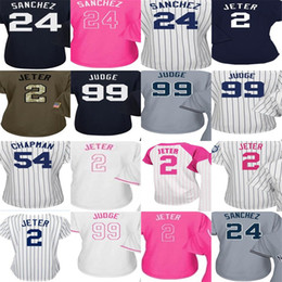 Wholesale Womens Army Shorts - 2017 Womens New York Jersey 2 Derek Jeter 24 Gary Sanchez 99 Aaron Judge 54 Aroldis Chapman Baseball Jerseys Stitched Size S-2XL