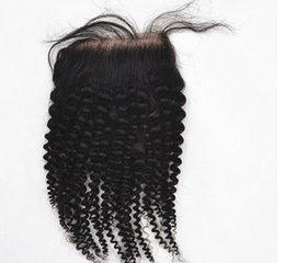"""fechamento superior de seda de 12 polegadas Desconto Fechamentos do cabelo Top Qualidade Kinky Curly Weave Top Closures (4x3.5) 8 """"-26"""" Virgem Remy Brasileira Parte Do Cabelo Humano Lace Fechamento"""