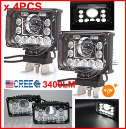 "Wholesale Giant Plug - 4PCS 7"" 42W CREE LED Driving Work Headlight With H4 Plug High   Low Beam All in One 9LED*3W Flood Beam + Giant 15W Spot Beam 3400lm SUPER"
