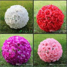 Wholesale Silk Kissing - 13.5 CM to 60 CM 7 Colors Artificial Encryption Silk Flower Rose Ball Hanging Kissing Ball For Wedding Decoration Supplies