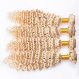 Wholesale Blonde Brazilian Curly Hair Weaving - Bouncy Kinky Curly Brazilian Peruvian Virgin Hair Weave Bundles 3Pcs Lot 8-30'' Platinum Blonde Deep Curly Human Hair Sew-in Extension Wefts