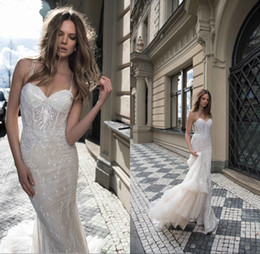 Wholesale Skirts Bling - Berta 2017 Sexy Spaghetti Bling Full Lace Mermaid Wedding Dresses Long Sequins Major Beading Backless Bridal Gowns Tiered Skirts BA0263