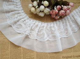 Wholesale Chiffon Ruffle Trim Wholesale - Chiffon Ruffled Lace Trim in White Black for Chiffon Skirt, Embellishment - 3Yards Lot - 13cm(5.12 Inch)Width - Free Shipping