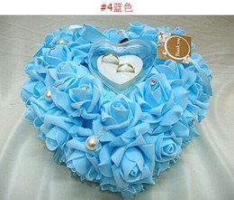 Wholesale Heart Shape Pillow Wedding - Wedding Ring Pillow New Romantic Heart Shape With Gift Box 1PC Lot Free Shipping 1023B12