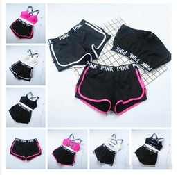 Wholesale Wholesale Wire Bras - Pink Letter Tracksuit Women Summer Sport Wear Cotton Yoga Suit Fitness Bra Shorts Gym Top Vest Pants Running Underwear Sets 2pcs  wholesale