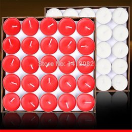 Wholesale Purple Flameless Candles - 50pcs  Box Smokeless Candle Tea Put The Circular Paraffin Candles Red Purple White Pink Blue Candles Tea Wax 7g
