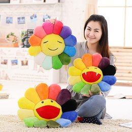 Wholesale Plush Puppet Doll - Wholesale- 45CM Seat Cushion Colorful Rainbow Emoticon Pillow Sun Flower Doll Pillow Cushion Realistic Plush Toys Children's Gifts