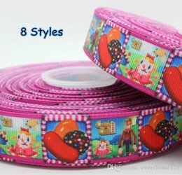 Wholesale printed webbing wholesale - 2015 Hot 7 8'' 100 Yards Candy Crush Cartoon Printed Grosgrain Ribbon Webbing Hairbow DIY Party Decoration 8 Styles Wholesale OEM