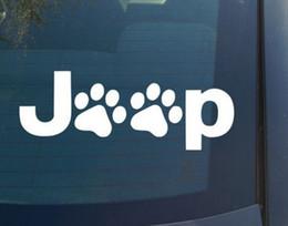 2019 decalques jeep (100 peças / lote) atacado wrangler cat dog paw patas impressão pés Vinyl Decal Decalques Etiqueta Do Carro janela para Jeep decalques jeep barato