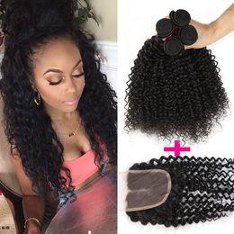 Wholesale Top Curly Virgin Hair - Brazilian Peruvian Malaysian Indian Deep Wave Curly Virgin Hair 3 Bundles & 1 Bundle Deep Wave Virgin Hair Lace Top Closure Brazilian Hair
