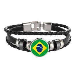 Pulsera de cuero Snap Punk Brazil Albania Antigua y Barbuda Paraguay Flag Glass Cabochon Charm Bracelets Mujeres y hombres Joyería al por mayor desde fabricantes