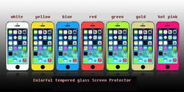 Wholesale S3 Glass Color - tempered glass Colorful 7 Color Explosion Screen Guard Front Protector Film for samsung galaxy S3 S4 S5 note 2 3 with retail box gift