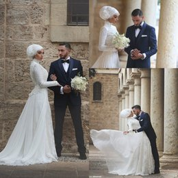 Wholesale Vintage Dress Shirts - 2017 Muslim A Line Wedding Dresses with Full Lace and Long Sleeves Wedding Gowns Arabic Custom Made High Collar Bridal Gown