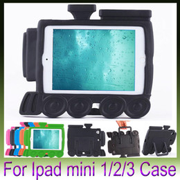 Wholesale Ipad Train Case - Hot Selling 3D Cute Cartoon Little train EVA Kids Thick Foam Shock Proof Soft Stand Back Case Cover for iPad mini 3 2