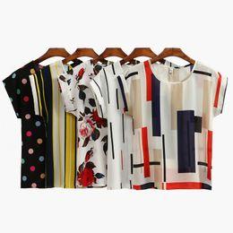 Wholesale Chiffon Batwing Tops - Summer Women Chiffon Blouses Floral Polka Dots Stripes Print Casual Blouse Shirt O-Neck Short Sleeve Beach Tops White Black CJG1103