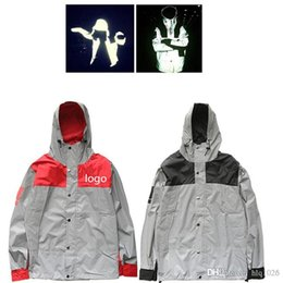 Wholesale reflective coats - Wholesale Mens windbreaker north jacket 3M Flag reflective Outdoor Waterproof Windproof Sports college sportswear hoody coats