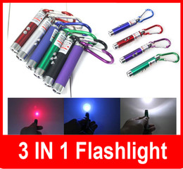 Wholesale New Led Laser Torch - New 3 in 1 5 mw Laser Pen Pointer + Mini LED FlashLight Torch Flashlight +Emergency Keychain Free Shipping