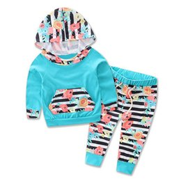 Wholesale Tracksuits For Baby Girls - Fashion Baby Clothing Set Infant Flower Tracksuit With Caps Hooded Cotton Long Sleeve Tops + Floral Pants 2PCS Outfits For Girl Blue A7895