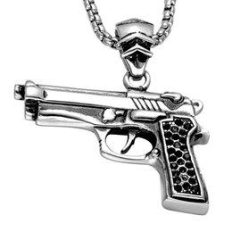 Wholesale Pistol Desert Eagle - CWFY Punk Warrior Mini CSGO Sport Desert Eagle Pistol Gun Men Necklaces & Pendants Stainless Steel Necklaces for Men Jewelry