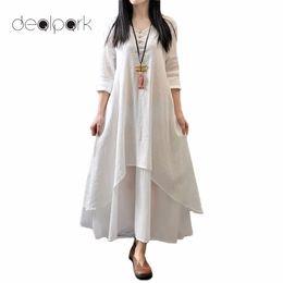 Wholesale Plus Size White Linen Dress - 2017 Autumn XXXL 4XL 5XL Plus Size Dresses Women Casual Loose Long Dress Long Sleeve Cotton Linen Boho Maxi Dress Solid vestidos q1113