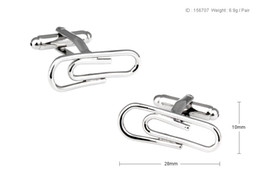 Wholesale Novelty Paper Clips - High Quality New Classic Silver Copper Mens Wedding Cufflinks Novelty Rare Fancy Paper Clip & Clean Cloth 156707