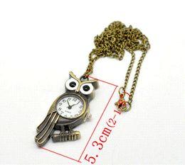 "Wholesale Digital Fob Watches - 2015 NEW Bronze Tone Necklace Quartz Owl Pocket Watch 85cm(33-1 2"").B16343 HOT sale New Arrival Pocket & Fob Watches"