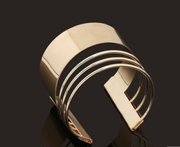 Wholesale Vintage Angles - 2015 New Punk Vintage Gold Plated Cuff Bangle Alloy Simple Hollow Out Wide Cuff BraceletsB angles Costume Jewelry For Women nz