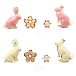 Wholesale Cute Animal Stud Earrings - Cute Pink Little Rabbit Stud Earrings Fashion Flower Pearl Earrings Gold Plated Ladies Girls Fine Jewelry 4pcs set