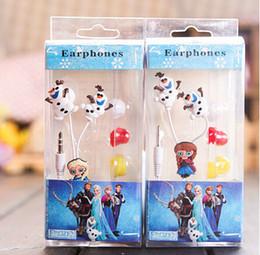 Wholesale Ear Headphones Cartoon - 2014 new arrive Frozen Princess Snow Treasure Series 3.50MM universal Earphones cartoon earbud headphones free shipping
