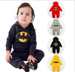 Wholesale Boys Batman Tops - Free shipping 2014 new batman top quality baby rompers boy newborn baby clothes breaking warm winter children hoodies TZX150